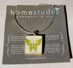 Butterfly Scrabble Tile Pendant with Sterling Silver Chain