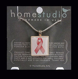Breast Cancer Awareness Scrabble Tile Pendant with Sterling Silver Chain