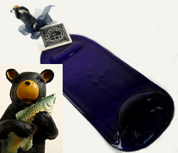 Recycled Wine Bottle Cheese Tray with Bear & Fish Knife Made in Alaska