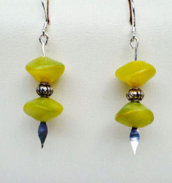 Lime Green Artglass Earrings
