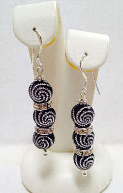 Black & Silver Elegant Dangle Earrings with Swarovski Crystals