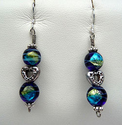 Venetian Style Artglass Beads with Tibetan Silver Hearts Earrings