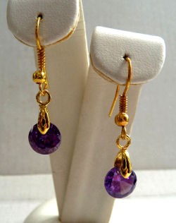 Amethyst Cubic Zirconia Gem Drop Earrings