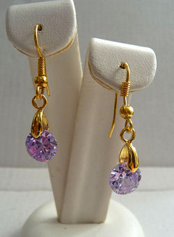 Lavender Cubic Zirconia Gem Drop Earrings