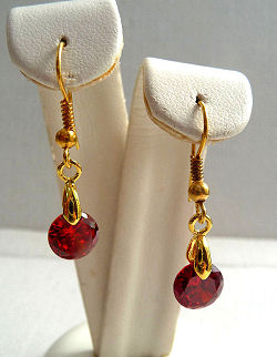 Ruby Red Cubic Zirconia Gem Drop Earrings