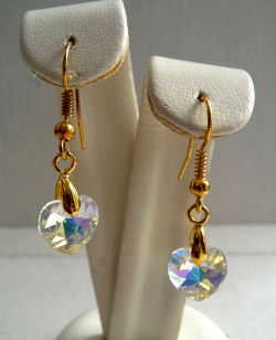 Genuine Swarovski Crystal Aurore Boreale Heart Earrings