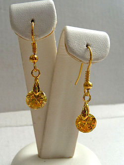 Topaz Gold Cubic Zirconia Drop Earrings
