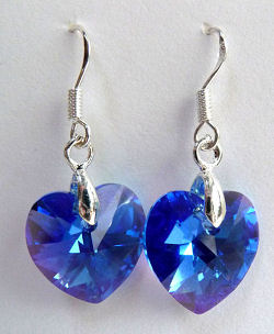 Swarovski Crystal Sapphire Aurore Boreale Heart Earrings on Sterling Silver French Ear Wires