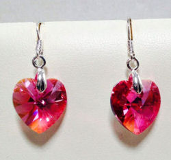 Swarovski Crystal Rose Heart Earrings
