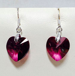 Swarovski Crystal Lilac Shadow Heart Earrings