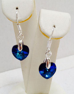 Genuine Swarovski Crystal Bermuda Blue Heart Earrings