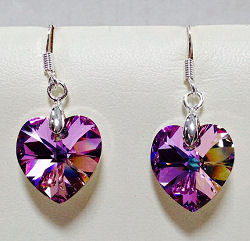 Swarovski Crystal Vitrail Light Heart Earrings