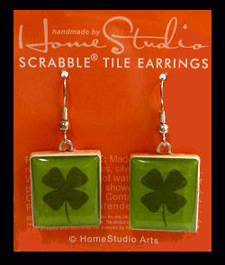 Lucky Four Leaf Clover Scrabble Tile Earrings