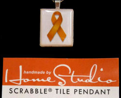 Childhood Cancer Awareness Scrabble Tile Pendant with Sterling Silver Chain
