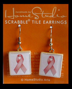 Breast Cancer Awareness Scrabble Tile Earrings